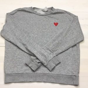 Divided grey sweatshirt w embroidered heart sz S